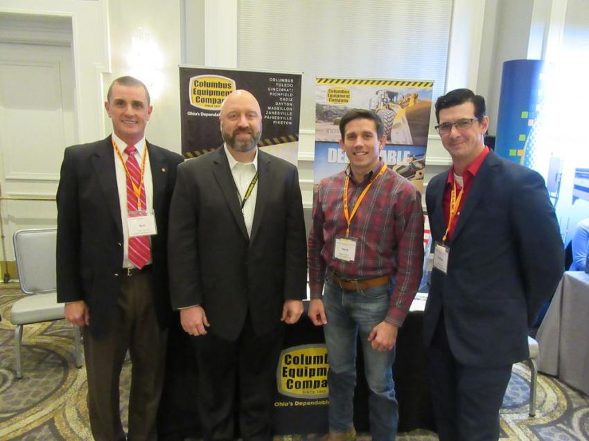 (L-R): Columbus Equipment Company's Bob Stewart, Jeff Richards, Mark DiSalvo and Joshua Lovett welcomed the opportunity to discuss the company's lineup of equipment geared for aggregate applications.