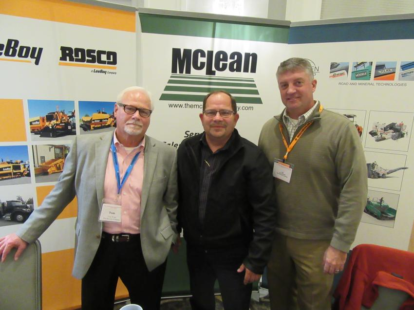 (L-R): The McLean Company's Tom Wade, Scott Riffle and Kirk Sidwell were on hand to greet attendees.
