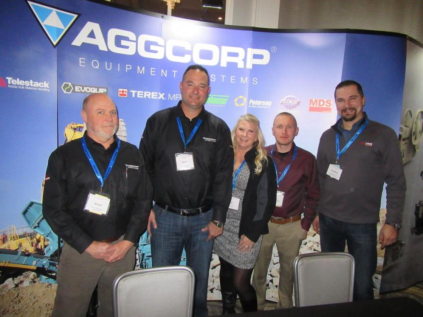 (L-R): AGGCORP's Bruce Manwaring, Roberto Armbruster and Sue Vitaz were joined by Elliott Tribble of Terex and longtime customer Jonathan Stock of Tiger Sand & Gravel during the reception