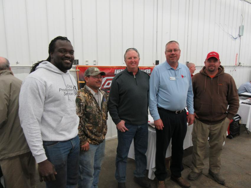 (L-R): Ramon Williams and Chad Laver of Linder Farms, Mickey Hammers of Traylor Brothers, Mark Klodowski of Diamond Equipment and Mike Titzer of Turf Plus catch up at the event.