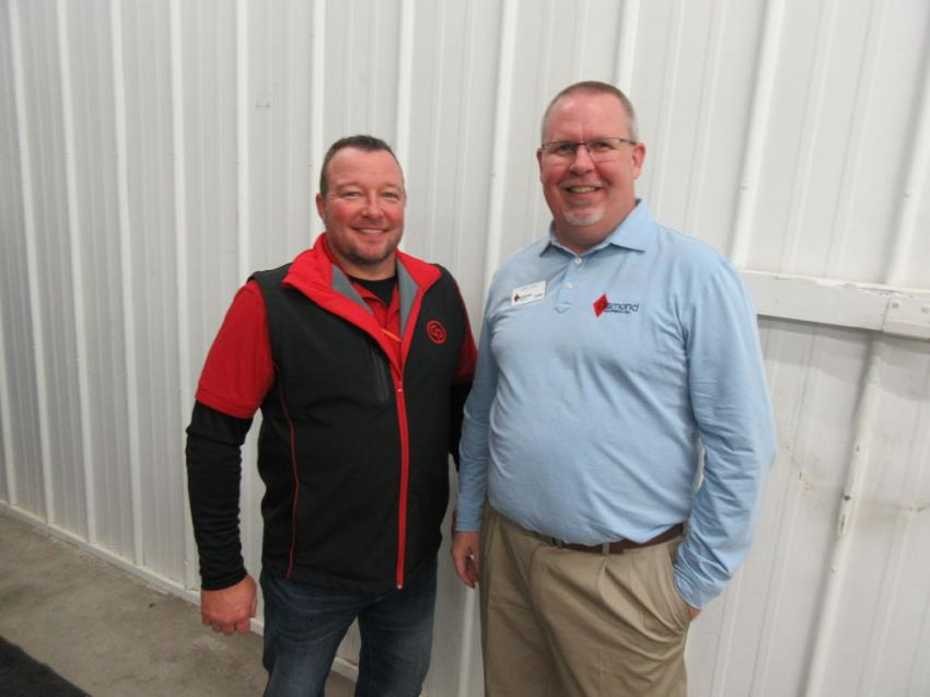Greg Slone (L) of Construction Product Sales spoke with Diamond Equipment's Jeff King about the many lines of contractors supply products his company represents.