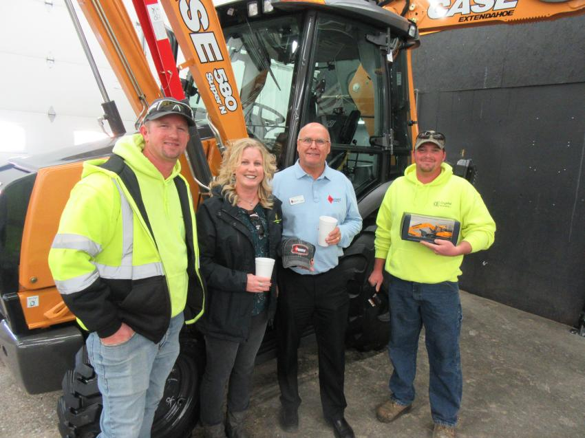 (L-R): Joe and Crystal Miller of Crystal Excavating are joined by Dave Fortune of Diamond Equipment  and Matt Miller, also of Crystal Excavating.