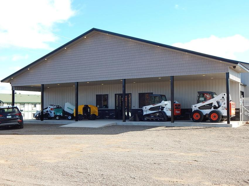 Inventory on display welcomes customers to Bobcat of Brainerd's sales entrance.