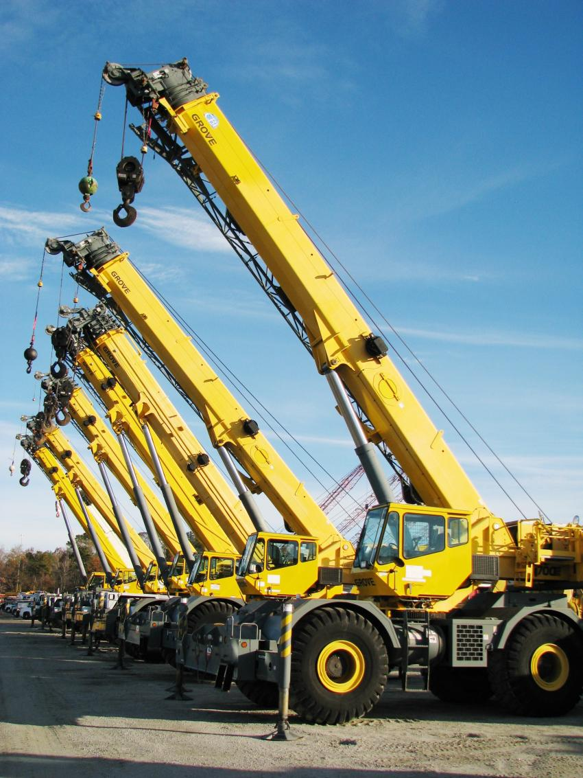 Another package of machines in this sale lineup included seven Grove rough-terrain cranes.