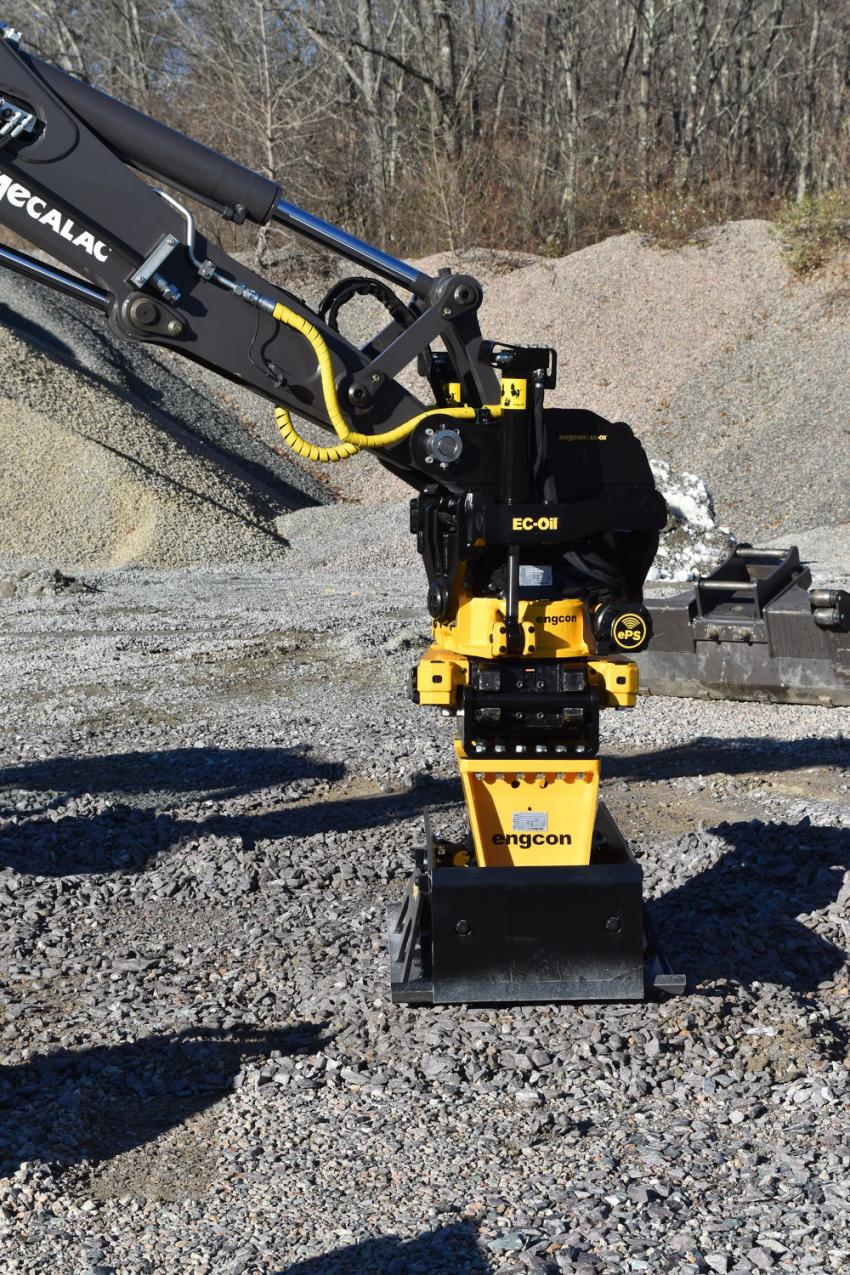 The Engcon 360-degree tilt rotating attachment system even offers a vibratory compactor that can be changed out in seconds without leaving the cab.