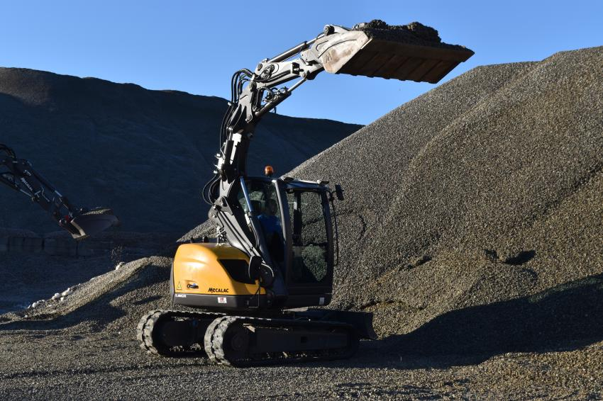 The Mecalac 6-MCR excavator skid steer hybrid gets put through its paces.