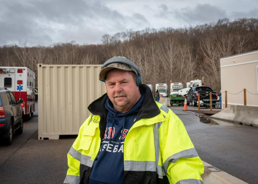 Alan MacDougall of ALM Services in Waterford, Conn., was outside of the North Franklin Ritchie Bros. facility waiting for the bidding to start.