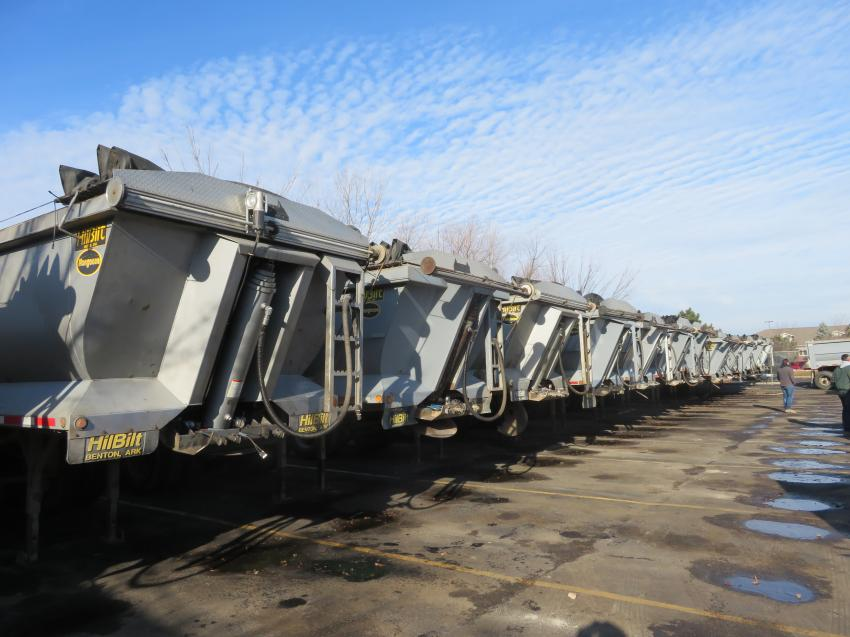There were plenty of HilBilt Mongoose dump trailers up for sale at the auction.