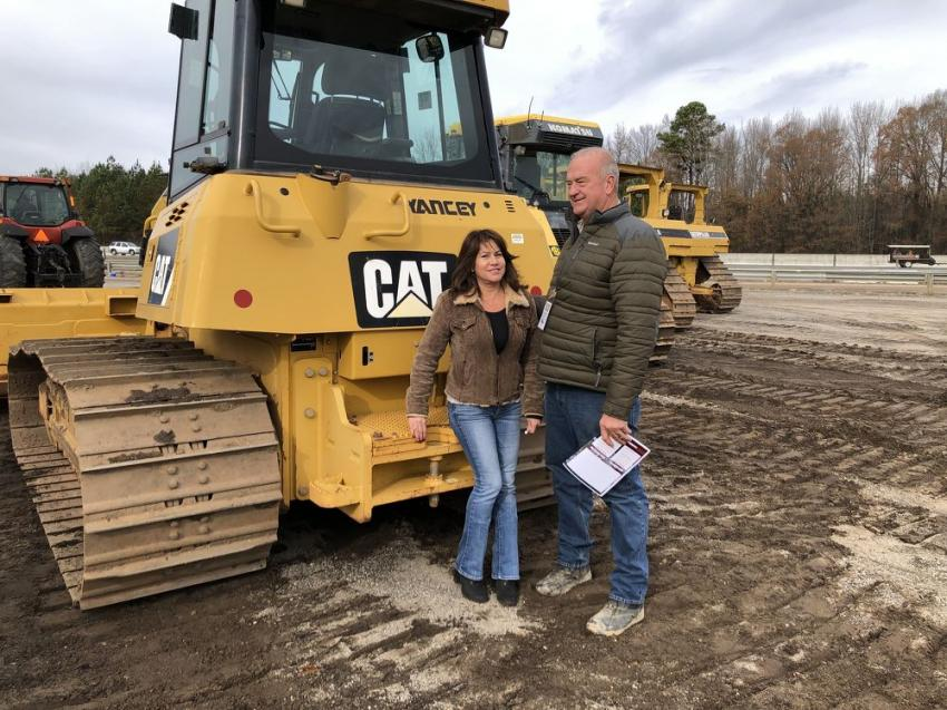 Looking over the selection of Cat and Komatsu dozers are Aurora and Miles Mauldin, Mauldin Excavating & Grading, Dawsonville, Ga.