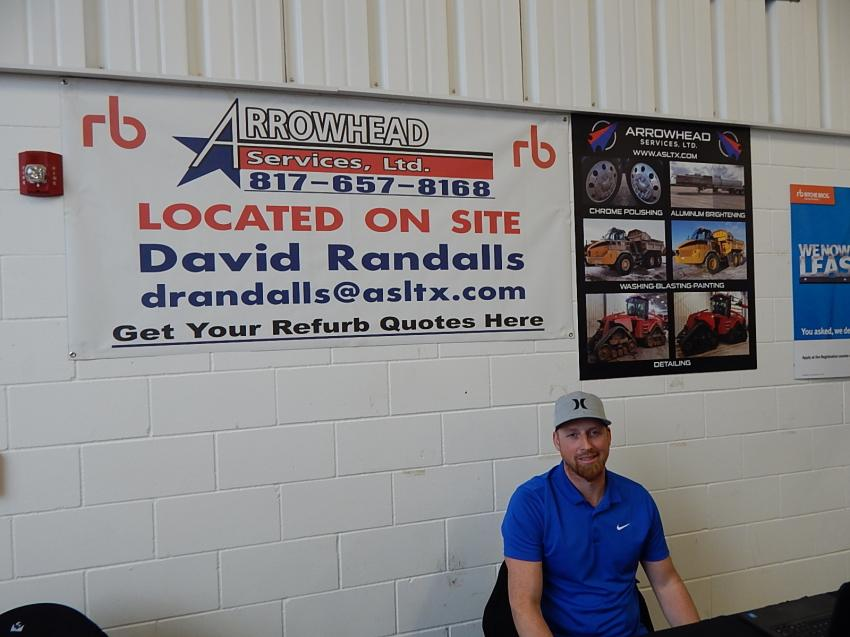 David Randalls, local site manager of Arrowhead Services, located in Medford, Minn., attends the Ritchie Bros. auction. Arrowhead Services operates permanent facilities for Ritchie Bros. in Houston, Texas; Fort Worth, Texas; Las Vegas, Nev;, Sacramento, Calif;, Perris, Calif;, Chicago, Ill;, Minneapolis/St. Paul, Minn.; and Denver, Colo.