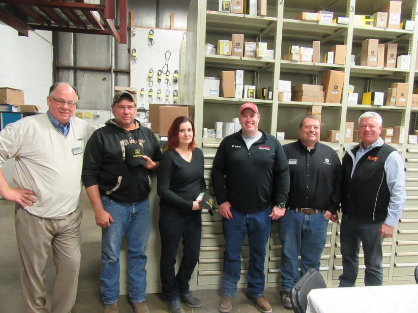 (L-R): Murphy Tractor & Equipment's Mike Camp joined Beaver Excavating Company's Tony Raubenolt, Eve Lahmers and Hugh Brown, Murphy Tractor & Equipment's Alan Garside and NPK's Ken Skala in the festivities at the Canton Branch.
