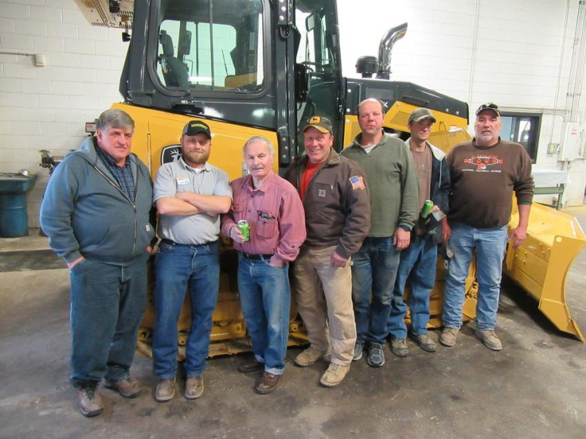 (L-R): Darry Neuenschwander of Neuenschwander Farms joined Murphy Tractor & Equipment's Daren Harvey; Rich Croft, Charlie Croft, Keith Larson and Hammond Croft of Croft Excavating; and John Shisler of Jerry's Trucking & Excavating to review the equipment on display at the Canton Branch event.