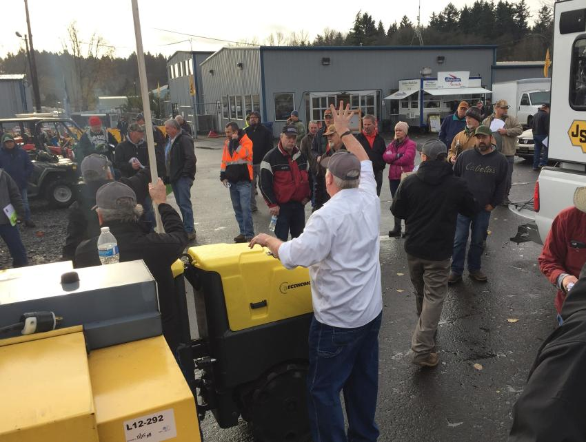 J. Stout Auctions' Portland sale brought in more than 320 people from 36 states to bid on hundreds of heavy equipment and commercial truck lots.