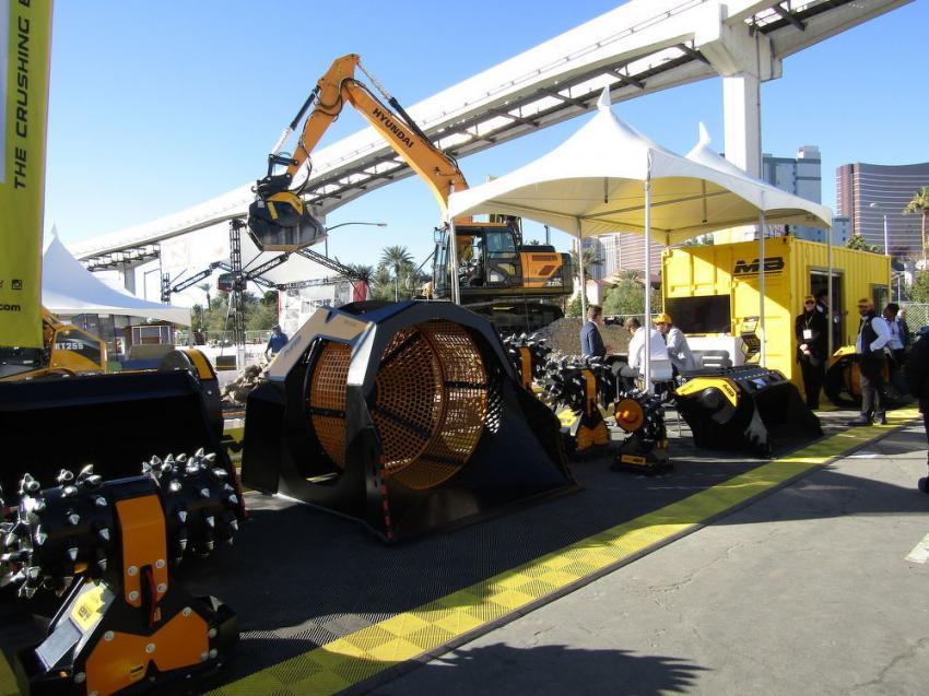 A variety of MB America crusher buckets, screening buckets and drum cutters were on display during World of Concrete 2019 in Las Vegas.