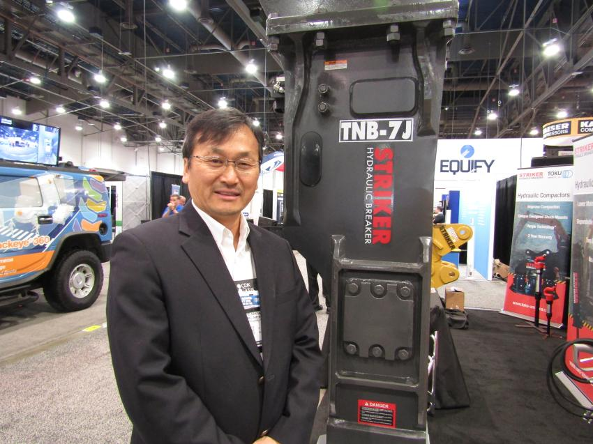 David Nakamura, president of Toku America Inc., introduced the new Toku Striker TNB-7J hydraulic rock hammer. The new breaker is sound proof and provides less kickback for the operator.