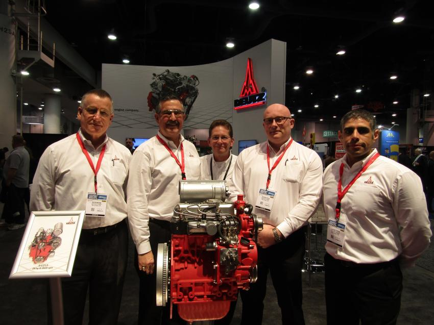 (L-R): Deutz Corporation's Bob Mann, president and CEO; Gavin Hale, business development; Jeff Wolfe, director of marketing; Eddie Pena, OEM and service; and Nick Vermet, Midwest general manager expand their line with the new D 1.2 L3 25 hp engine.