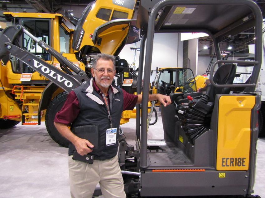 Joel Escalante, western region product sales manager of Volvo Construction Equipment, presents the newly-launched ECR18E compact excavator. Volvo's ECR18E features an ultra-short swing radius with a variable undercarriage.