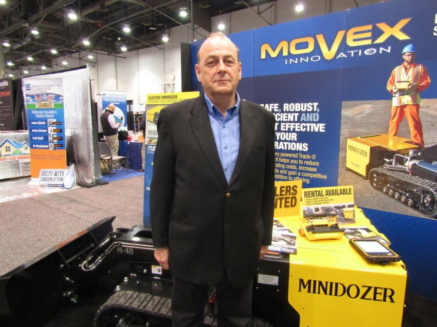 Jean-Yves Bacle, director of sales and marketing of Movex, introduced the Movex mini-dozer M48. The M48 is an electric vehicle that provides a solution for work in confined areas.