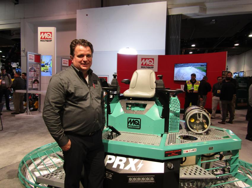 Juan Quiros, vice president of product support of Multiquip, introduced the Multiquip MQ Whiteman PRX power float, the industry's first power float designed to attain maximum coverage and optimum flatness.