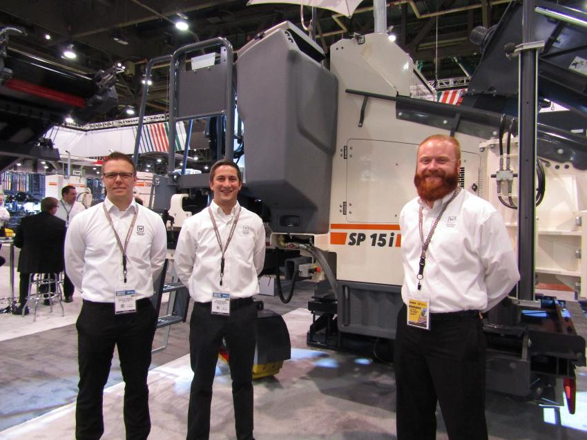 (L-R): David Schenkel, project manager research development; Austin Evans, marketing; and Robby Adkisson, field service engineer, all of Wirtgen, were at WOC to showcase the Wirtgen SP 15i with new optional Wirtgen autopilot 2.0.