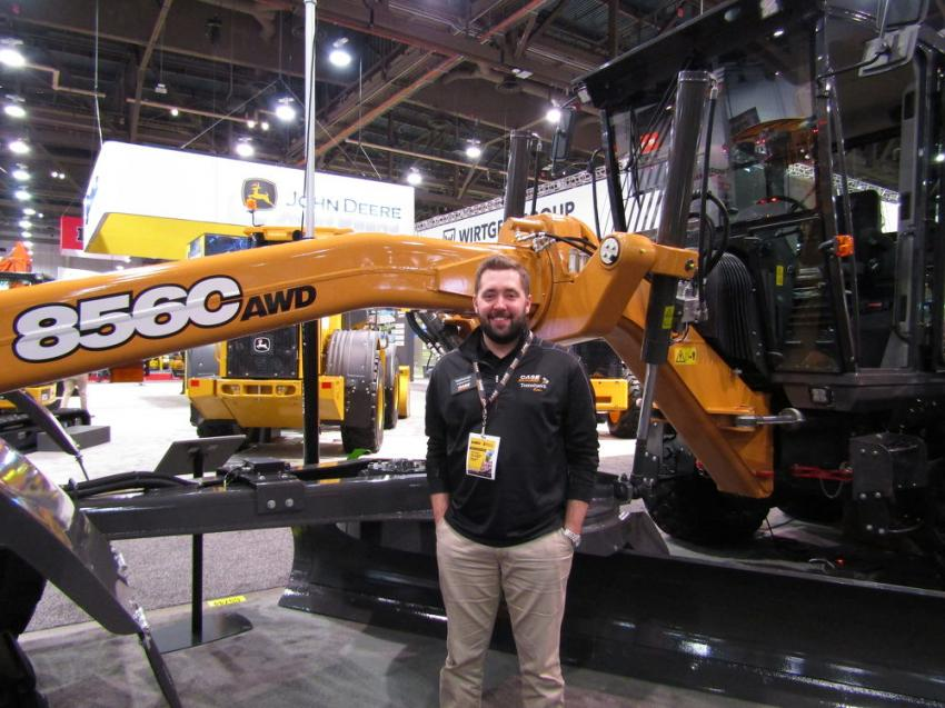 Nathaniel Waldschmidt, product marketing manager of Case Construction Equipment, debuts the new C series motorgrader.