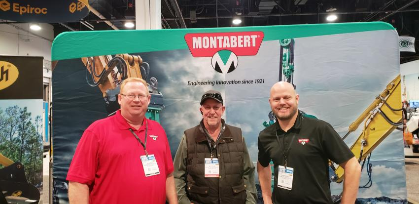(L-R): John Sad, product manager of Montabert; Bill Lyon of Ram Rick Albert Machinery Inc., Santa Clara, Calif.; and Randy Myatt, product manager of Montabert Suwannee, Ga., discuss the latest products. Lyon uses the Montabert breakers in the field and said they are a great unit. Myatt said Montabert heavy breakers are designed for all types of carriers, from 20 to 80 tons.