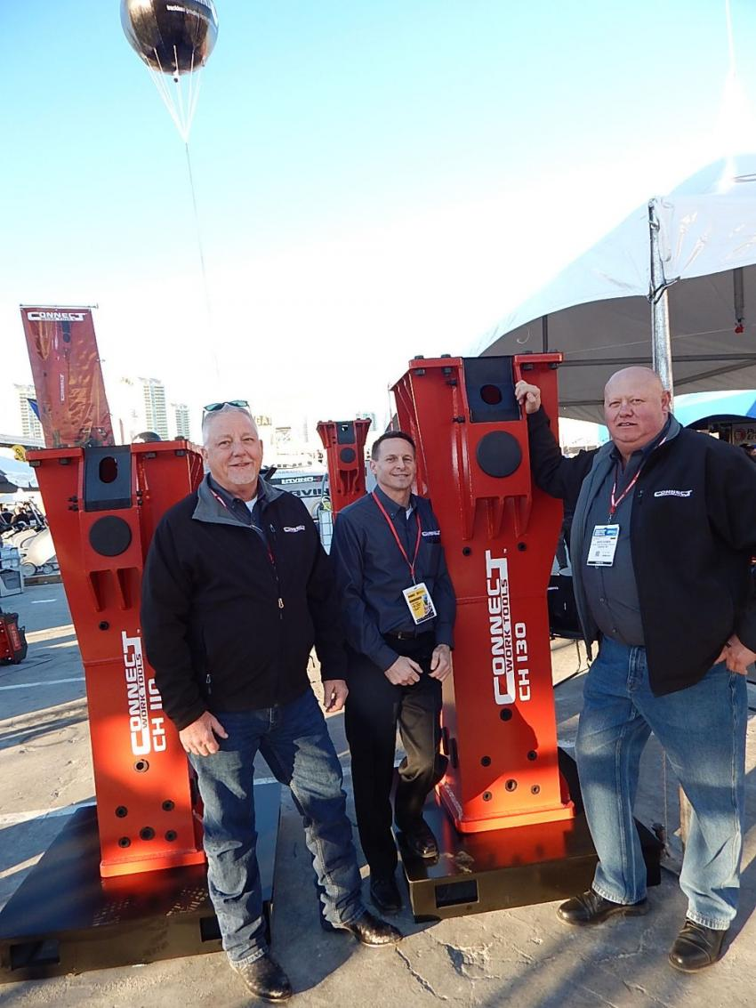 The crew of Connect Work Tools, (L-R) Bill Reaver, regional sales manager; Todd Kirchner, regional sales manager; and Dave Cowen, North America sales manager, were at WOC to show off their CH series of medium hydraulic breaker attachments. This series is highly-productive for foundation and building demolition.