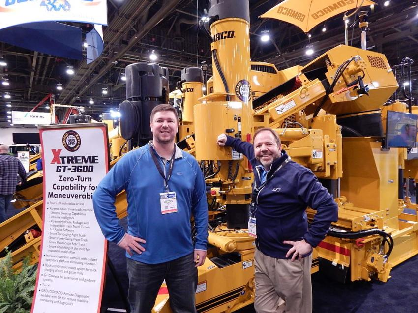 Joe Marvin (L), and Jim McGowan of MTU America check out the Gomaco Xtreme GT-3600 curb and gutter machine. The GT-3600 is a three-track machine that can pour a 24-in. or less radius. It is equipped with rotary-sensored slew drives, All-Track steering and All-Track positioning.
