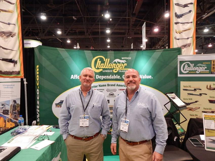 Jeff Schatz (L) sales manager of Witzco Trailers Inc. and Josh Weinstein, owner and president of Witzco were at WOC 2019 to show how the company's trailers can be beneficial when hauling equipment in the concrete industry.