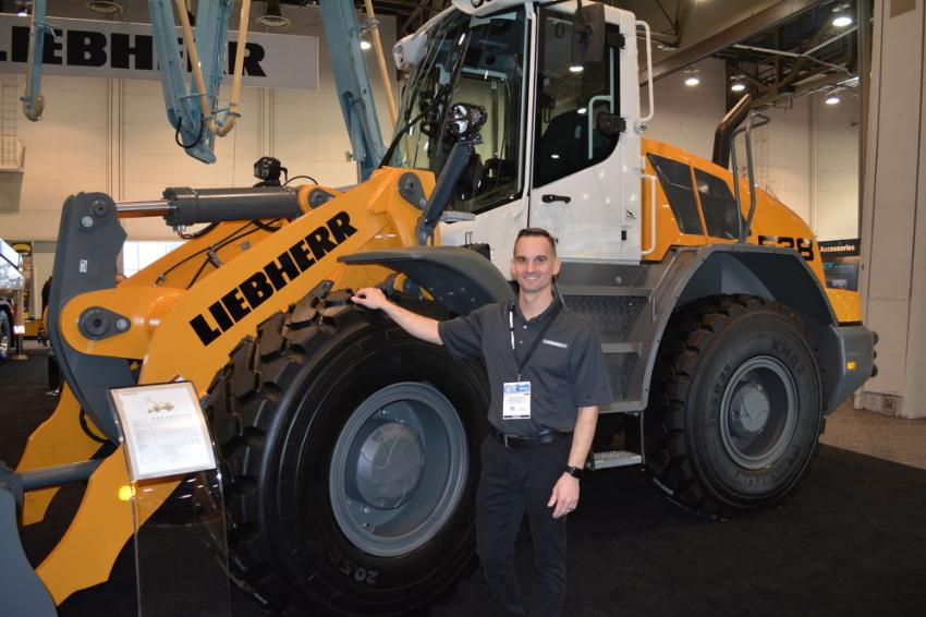 Liebherr USA drew big crowds to its booth at World of Concrete. The company displayed its L 538 wheel loader, and the 50 M5 XXT and 37 Z4 XXT concrete pumps. Nick Rogers, Liebherr's product specialist of wheel loaders was on hand to answer questions.