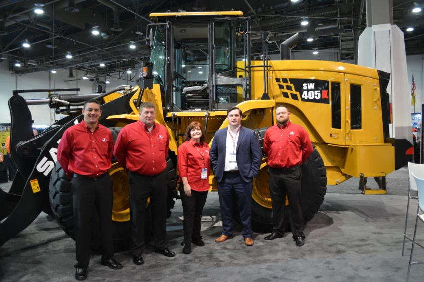 SANY personnel on site at WOC included (L-R) Alex Baksay, Dean Heistand, Jennifer Brigman, Bill Bagwell and John Fair. SANY was promoting its SW 405K wheel loader.