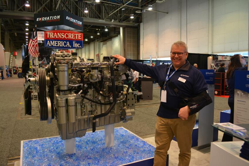Mark Borst of Perkins Engines discusses the company's new 1706J 9.3 litre stage IV final engine at World of Concrete. The engine produces 456 kilowatts of power and 1,540 ft.lbs. of torque.