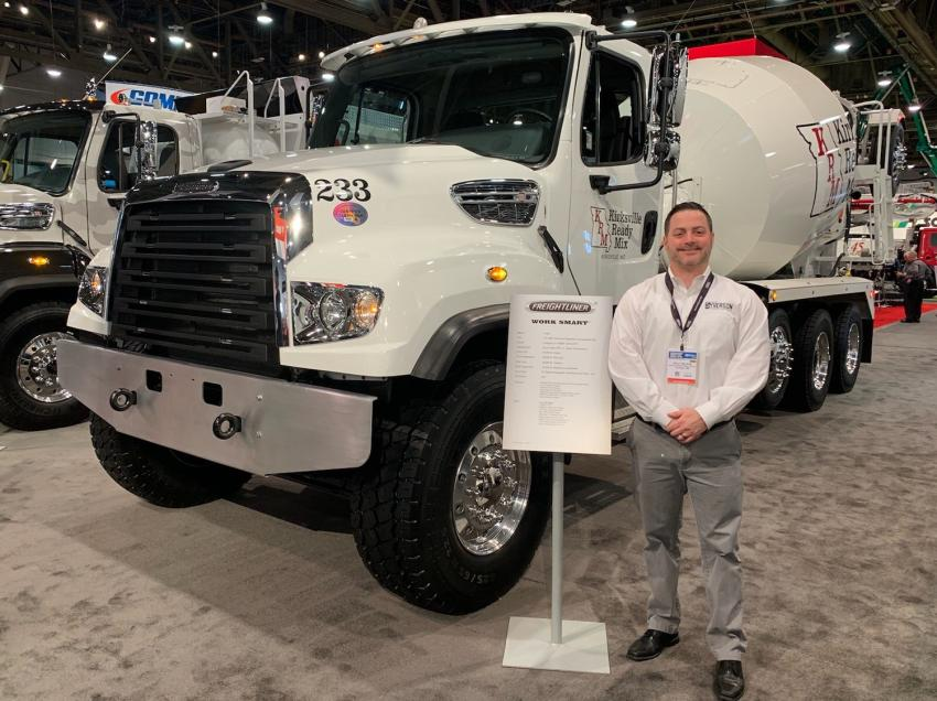 Dave Syverson, Freightliner, is at the Freightliner booth at WOC 2019.