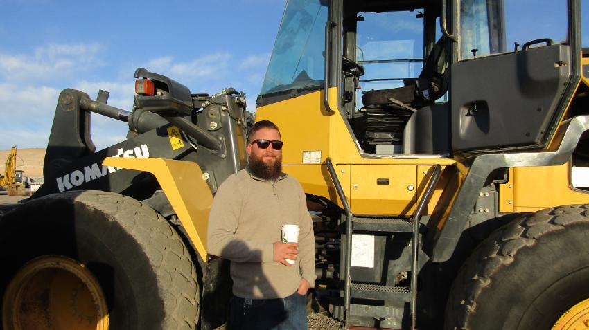 Chad Hardy, co-owner of Williamson Development in Phoenix, came to the auction to add some more pieces to his equipment fleet. This 2012 Komatsu wheel loader is one of several he is considering.