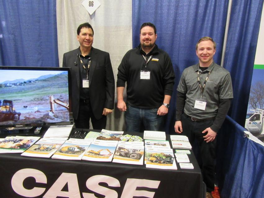 (L-R): McCann Industries' James Maioho, Jamie Fasbender and Scott Becksvoort spoke with attendees about the dealership's lineup of Case Construction Equipment.