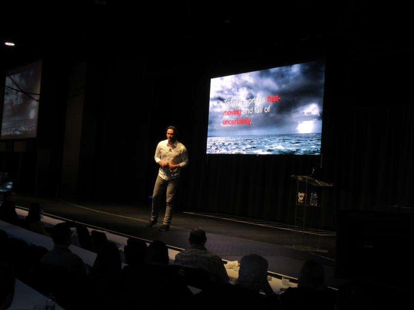 Keynote speaker Jake Wood, co-founder and CEO of Team Rubicon, discusses the elements of leadership at the event.