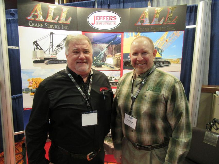 Jeffers Crane Service's Vince Voetberg (L) and Kevin Boyd welcomed attendees to their booth and discussed the company's full range of crane equipment.