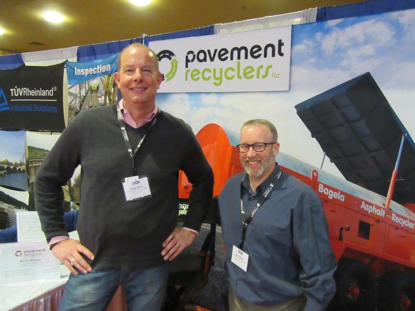 Greg Harla (L) and Brian Fraser of Pavement Recyclers of Michigan LLC were on hand to discuss their company's lineup of Bagela equipment for use in roadway repair.