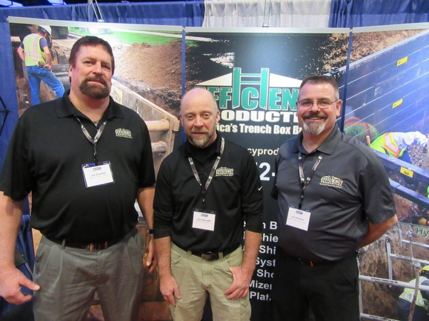(L-R): Efficiency Production's Joe Doerfner, Dan Meredith and Jim Hamilton were ready to discuss trench safety at the show.