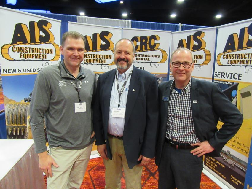 (L-R): Dave Terbeek of Contractors Rental Corp. and Frank Pytlowany of AIS Construction Equipment Corp. spoke with MITA Director of Workforce Development Ken Bertolini at the show.