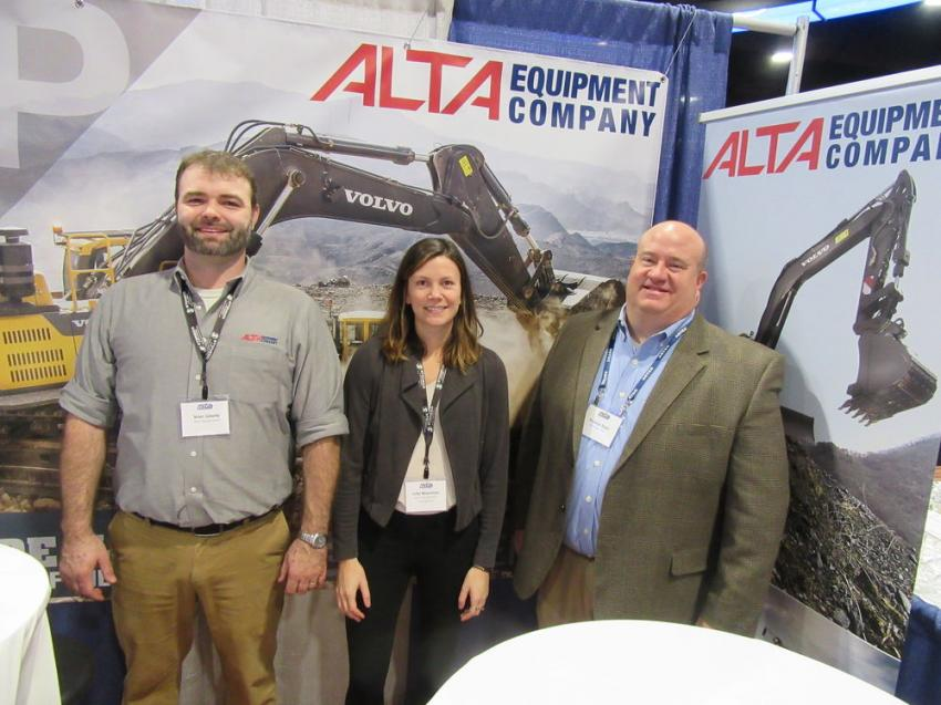 (L-R): Alta Equipment's Brian Gillette and Julie Marsman were joined by Roadtec's Tom Elam at the Alta Equipment booth, where they showcased Roadtec paving equipment as well as the dealership's line of Volvo, Link-Belt and other equipment.