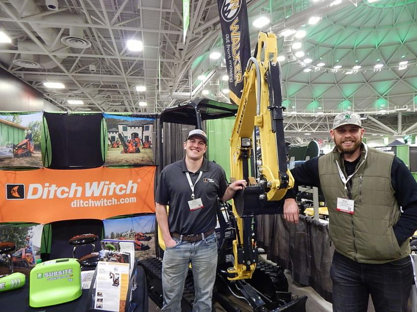 Austin Kaiser (L), compact utility specialist and Wyatt Peiffer territory manager, both of Ditch Witch of Minnesota and Iowa, staff the Ditch Witch booth at Northern Green.