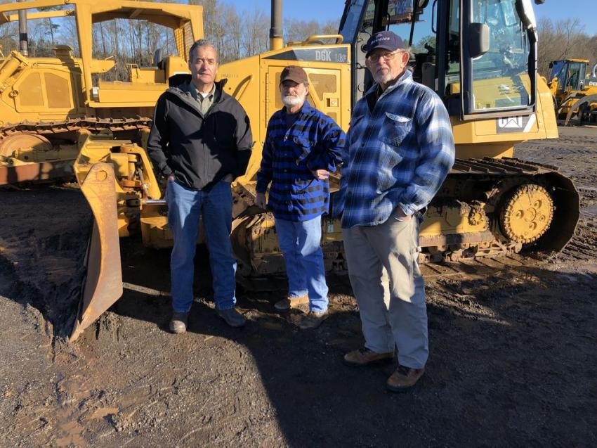 (L-R): Paul Cash, Cash Grading, Greenville, S.C.; Mike Longshore, HM Longshore Land Clearing, Kinards, S.C.; and Frank Cunningham, Cunningham Excavating, Spartanburg, came to the auction for the dozers and an artic truck.