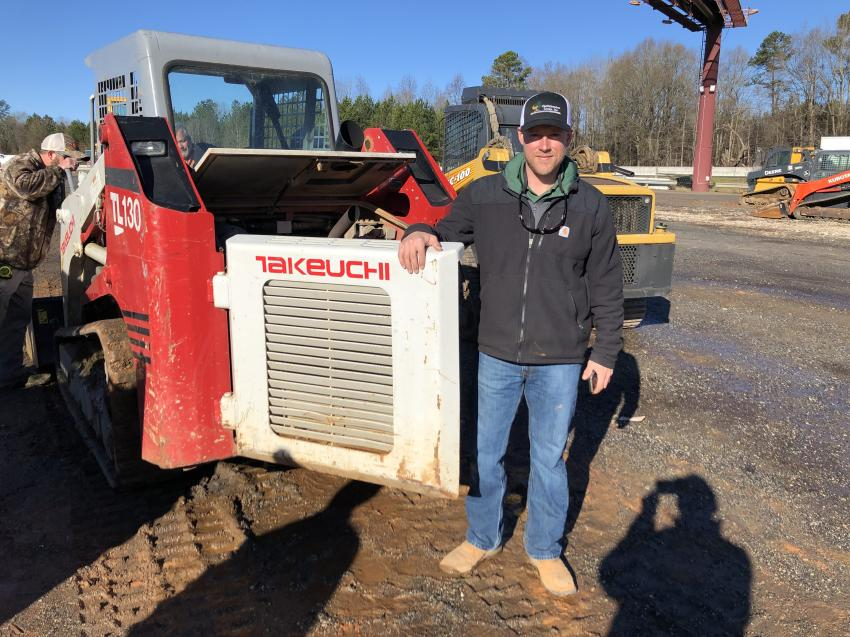 Jake Gailey of the Chattahoochee Group in Clermont, Ga., checked out a Takeuchi TL130 CTL with plans to bid.