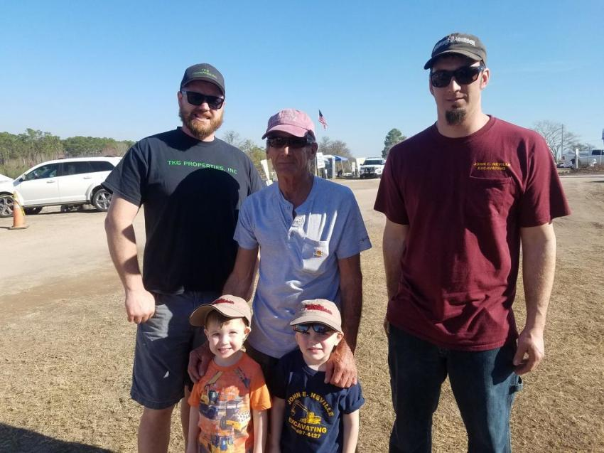 The Neville family enjoyed the Alex Lyon & Son auctions. Standing in the front are Kirk Gordon (L) and Jameson Neville, and standing in the back (L-R) are John Neville, Triston Gordon and Jake Neville, all of John E. Neville Excavating, Goffstown, N.H.