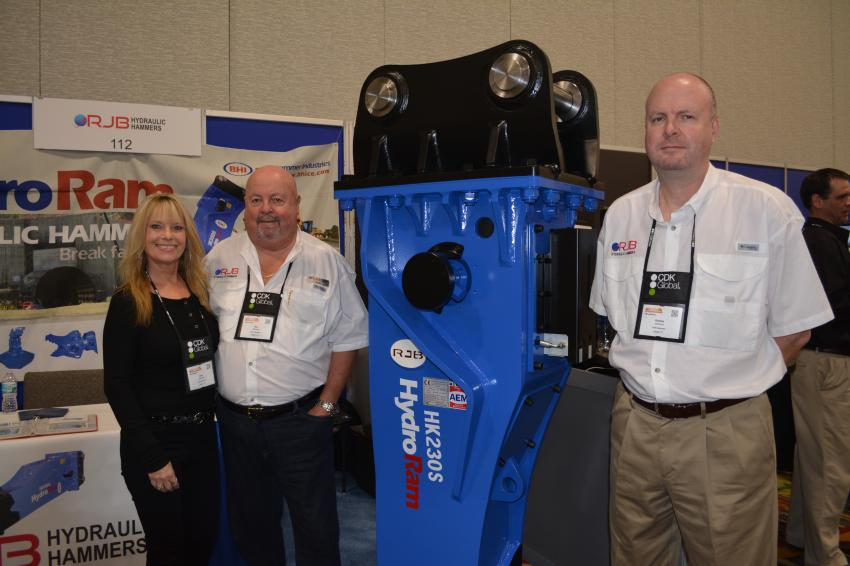 (L-R): Ron Johnson, president of RJB Hydraulic Hammers of Largo, Fla., is joined by Sheri Johnson, the company's marketing manager, and Rodney Johnson, vice president of operations. The company is a supplier of a variety of excavator attachments, in addition to hammers.
