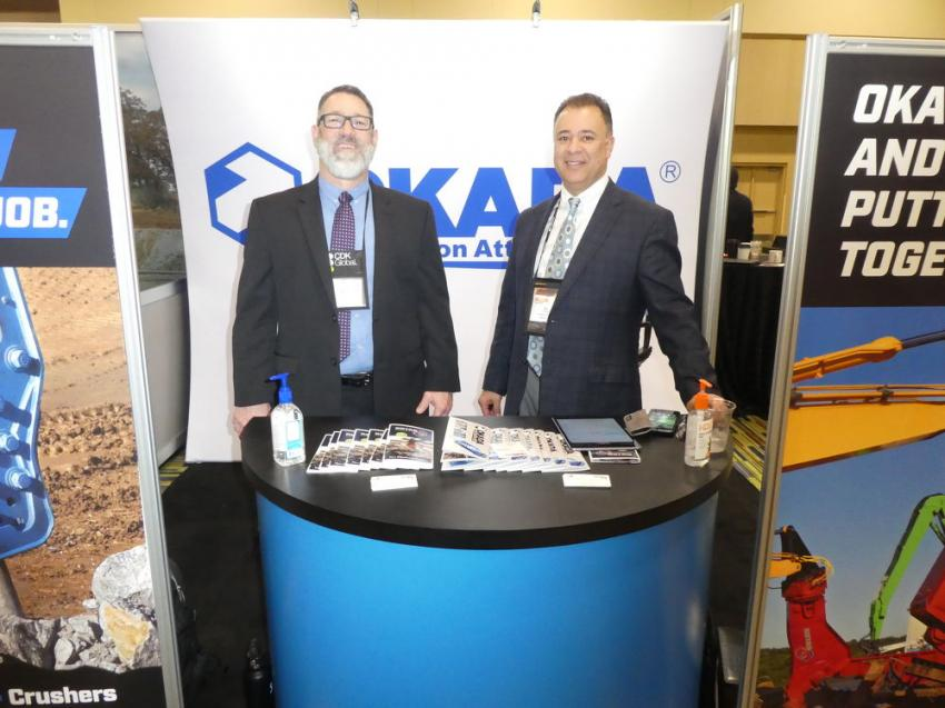 The Okada America booth was staffed by Michael LeVan (L), southeast sales manager, and Salvatore LaCorte, product manager.