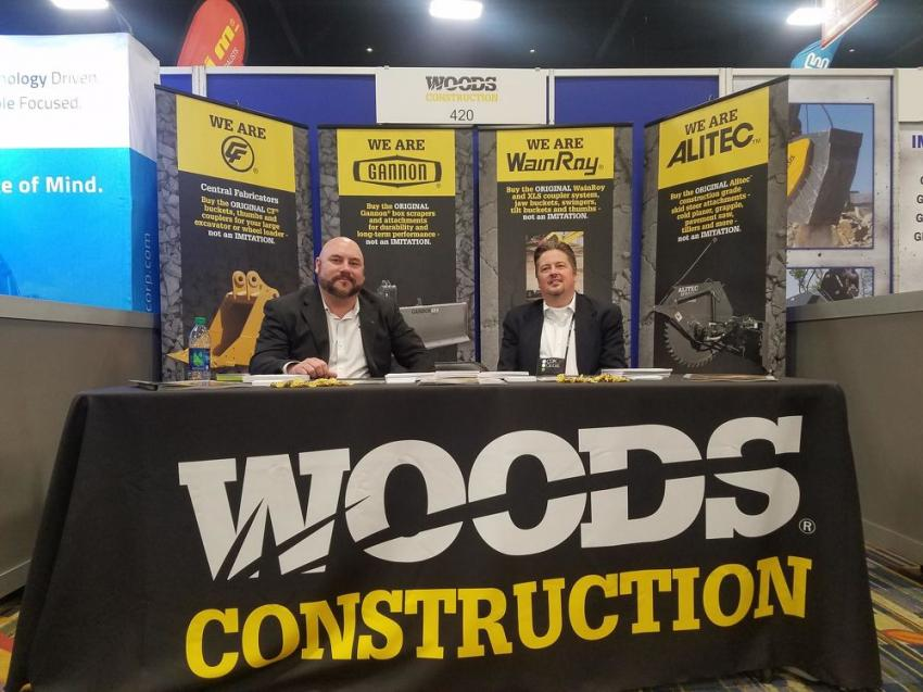 Sales Manager Southeast Lindsay Stead (L) and Director of Sales Jeff Kritch staff the Woods Construction booth.
