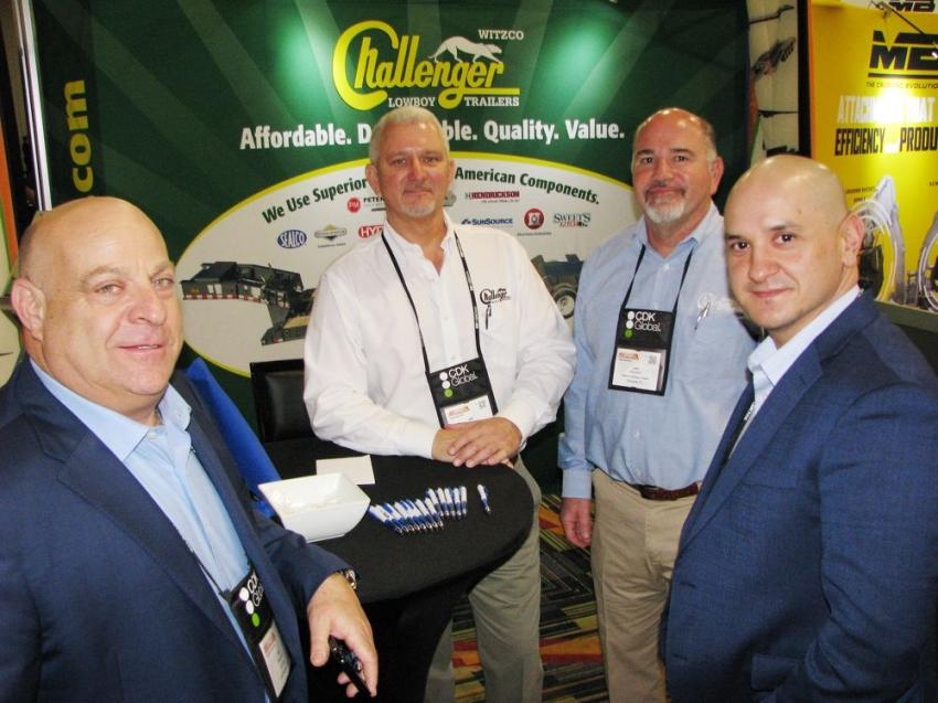(L-R): Kurt Benjamin, Currency, Los Angeles, Calif.; Jeff Schatz and Josh Weinstein of Witzco Challenger; and Tim Hill, also of Currency, discuss the Witzco Challenger lineup of trailers manufactured in nearby Sarasota, Fla.