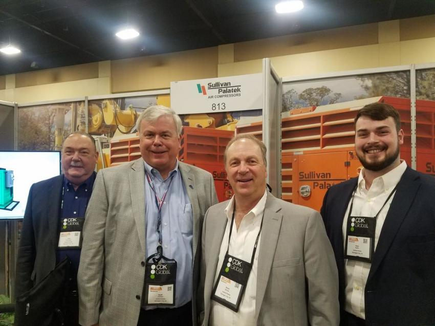 (L-R): Vice President of Sales Tom Viskniskki, Northeast Director of Sales Scott Carlson, Chairman and CEO Bruce McFee, and Marketing Coordinator Dave Raffin greet CONDEX guests at the Sullivan Palatek booth.